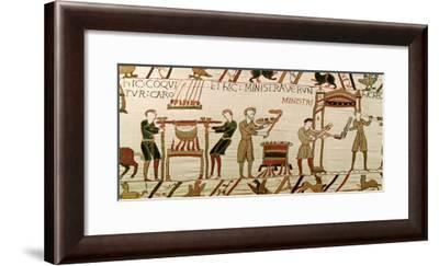 Here They Cook the Meat, Detail from the Bayeux Tapestry, Before 1082--Framed Giclee Print