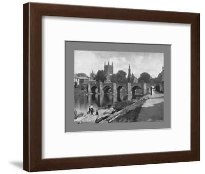 Hereford Cathedral and Wye Bridge, c1900-J Thirwall-Framed Photographic Print