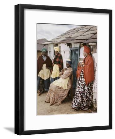 Herero Tribeswomen Wearing Turban and Dangling Earrings, Windhoek, Namibia 1951-Margaret Bourke-White-Framed Photographic Print