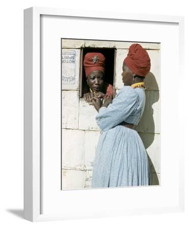 Herero Tribeswomen Wearing Turban and Dangling Earrings, Windhoek, Namibia 1953-Margaret Bourke-White-Framed Premium Photographic Print