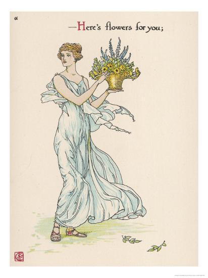 Heres Flowers for You!-Walter Crane-Giclee Print