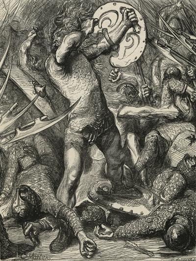 Hereward Cutting His Way Through the Norman Host-James Cooper-Giclee Print