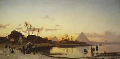 Sunset on the Nile, Cairo by Hermann Corrodi