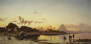 Sunset on the Nile, Cairo by Hermann Corrodi