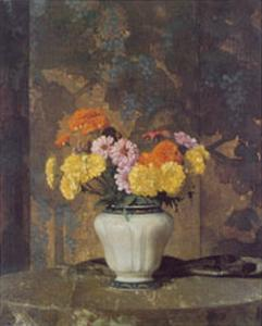 Zinnias And Marigolds by Hermann Dudley Murphy