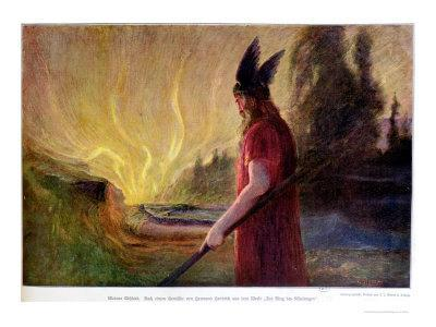 As the Flames Rise, Odin Leaves, 1909
