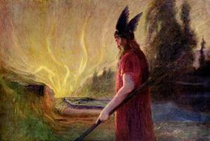 As the Flames Rise, Odin Leaves, 1909 by Hermann Hendrich