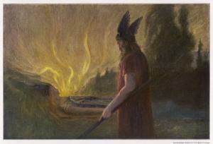 Wotans Abschied Wotan's Farewell to Brunnhilde by Hermann Hendrich