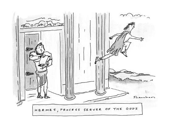 Hermes, Process Server Of The Gods - New Yorker Cartoon-Danny Shanahan-Premium Giclee Print