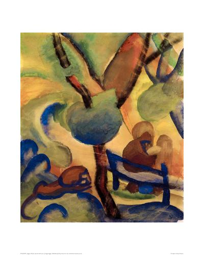 Hermit with lion-Auguste Macke-Giclee Print