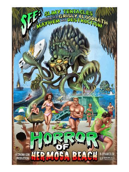 Hermosa Beach, California - Alien Attack Horror-Lantern Press-Art Print