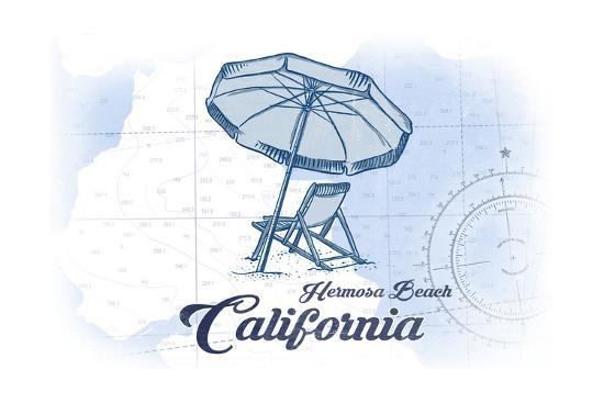 Hermosa Beach, California - Beach Chair and Umbrella - Blue - Coastal Icon-Lantern Press-Art Print