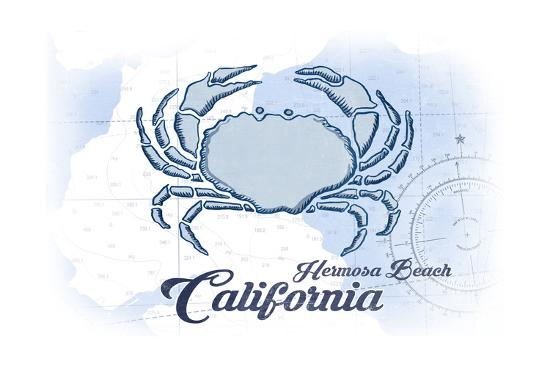 Hermosa Beach, California - Crab - Blue - Coastal Icon-Lantern Press-Art Print