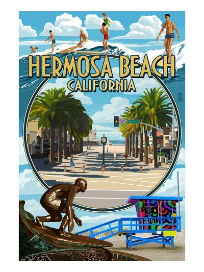 Hermosa Beach, California - Montage Scenes-Lantern Press-Art Print
