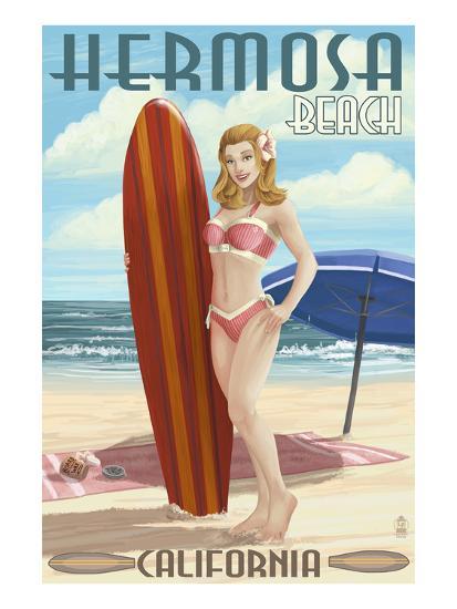 Hermosa Beach, California - Pinup Surfer Girl-Lantern Press-Art Print