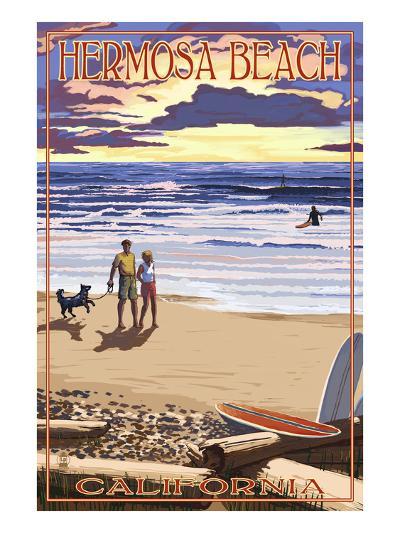 Hermosa Beach, California - Sunset Beach Scene-Lantern Press-Art Print