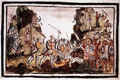 Hernando Cortes (Corte) (1485-154), Spanish Conquistador, Attacking Natives in Mexico--Giclee Print