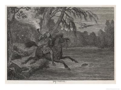 Herne the Hunter Herne the Hunter Plunges into the Lake-George Cruikshank-Giclee Print