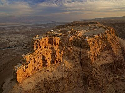 Herod's three-tiered palace cascades down the north face of Masada-Michael Melford-Photographic Print
