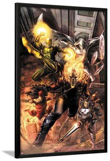 Heroes For Hire No.1 Cover: Ghost Rider, Elektra, Punisher, Iron Fist, and Moon Knight Charging-Doug Braithwaite-Lamina Framed Poster
