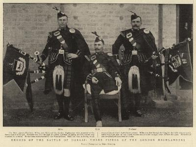 Heroes of the Battle of Dargai, Three Pipers of the Gordon Highlanders--Giclee Print