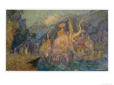 Heroes Rise from Ganges-Warwick Goble-Giclee Print