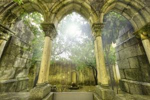 Ancient Gothic Arches In The Myst. Fantasy Landscape In Evora, Portugal by Herraez