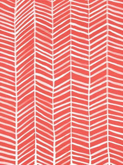 Herringbone - Coral-Cat Coquillette-Giclee Print