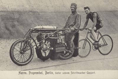 Herrm Przyrembel, Berlin, Hinter Seinem Schrittmacher Geppert--Photographic Print