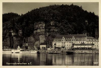 Herrnskretschen Elbe Region Aussig, Hotel, Dampfer Dresden--Giclee Print