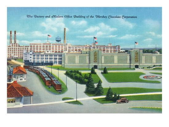 Hershey, Pennsylvania, General View of Hershey Chocolate Factory and Office Building-Lantern Press-Art Print