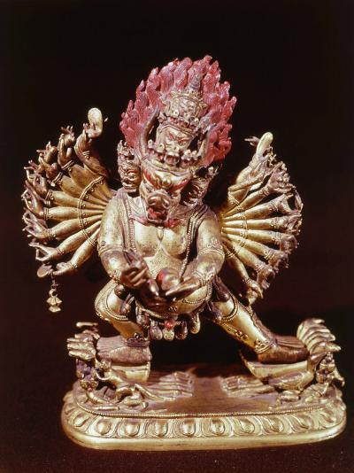 Heruka, Buddhist God, Emanation of the Buddha Aksobhya, Gilded Bronze, 18th century--Photographic Print