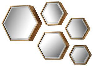 Hexagonal Beveled Mirror Set
