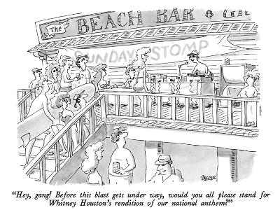 """""""Hey, gang!  Before this blast gets under way, would you all please stand …"""" - New Yorker Cartoon-Jack Ziegler-Premium Giclee Print"""