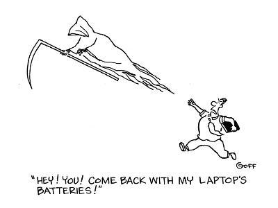 """""""Hey!  You!  Come back with my laptop's batteries!"""" - Cartoon-Ted Goff-Premium Giclee Print"""