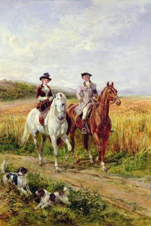 Couple Riding with their Dogs by Heywood Hardy