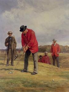 George Glennie Putting at Blackheath with Putting Cleek, 1881 by Heywood Hardy