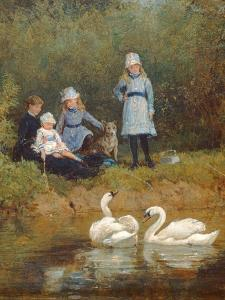 Watching the Swans by Heywood Hardy