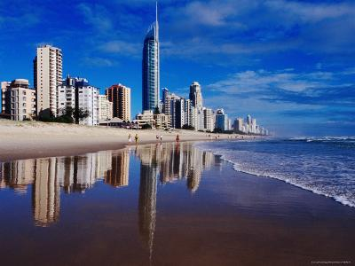 Hi-Rise Apartment Buildings and Surfers Paradise Beach-Richard I'Anson-Photographic Print