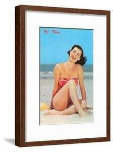 Hi There, Girl on Beach, Retro
