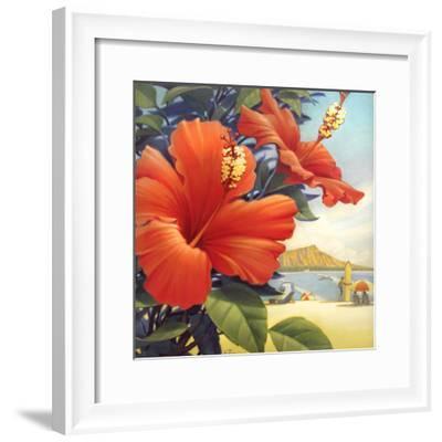 Hibiscus Beach Day-Kerne Erickson-Framed Art Print