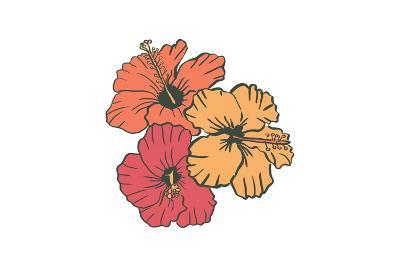 Hibiscus Flowers - Icon-Lantern Press-Art Print