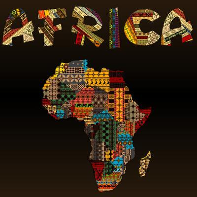 Africa Map with African Typography Made of Patchwork Fabric Text by hibrida13