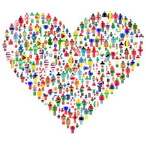Love Concept; Heart Made of People. People are Made of All Flags from the World. by hibrida13