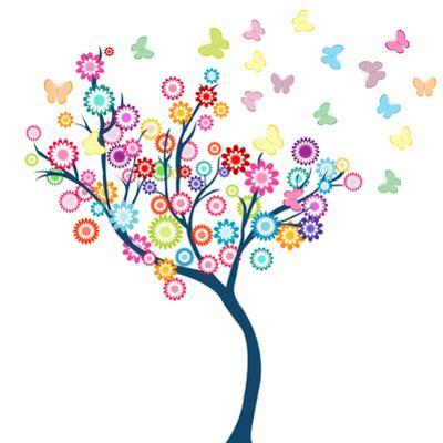 Tree with Flowers and Butterflies by hibrida13