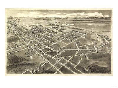 Hickory, North Carolina - Panoramic Map-Lantern Press-Art Print