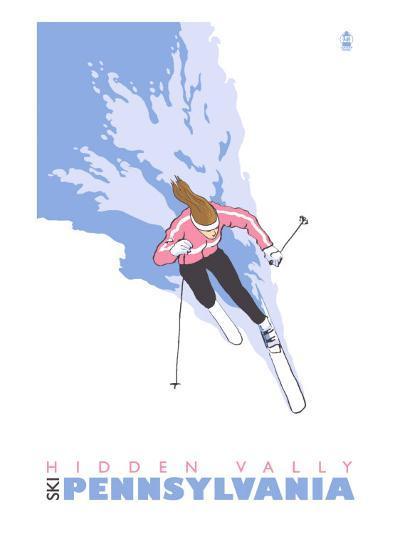 Hidden Valley, Pennsylvania, Stylized Skier-Lantern Press-Art Print