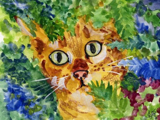 Hiding Tabby Cat-sylvia pimental-Art Print