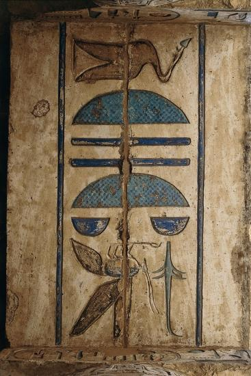 Hieroglyph on Ceiling at Colonnaded Forecourt--Giclee Print