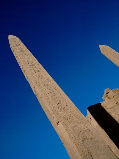 Hieroglyphic Covered Obelisk Towers over Karnak Ruins, Luxor, Egypt-Cindy Miller Hopkins-Photographic Print